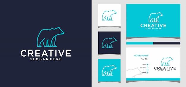 Plantilla de logotipo de oso y tarjeta de visita