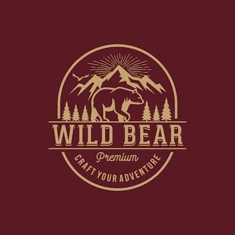 Plantilla de logotipo de oso vintage