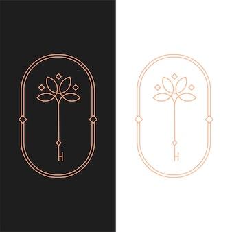 Plantilla de logotipo ovalado de clave de loto de vector elegante en dos variaciones de color. diseño de logotipo de estilo art deco para la marca de la empresa de lujo. diseño de identidad premium.