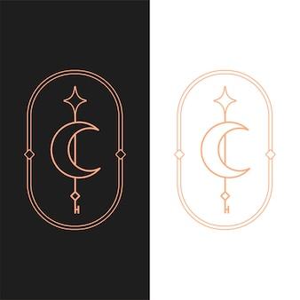 Plantilla de logotipo ovalado de clave de luna de loto de vector elegante en dos variaciones de color. diseño de logotipo de estilo art deco para la marca de la empresa de lujo. diseño de identidad premium.