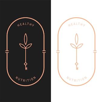 Plantilla de logotipo ovalado clave de nutrición vectorial elegante en dos variaciones de color. diseño de logotipo de estilo art deco para la marca de la empresa de lujo. diseño de identidad premium.