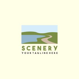 Plantilla de logotipo de paisaje creativo