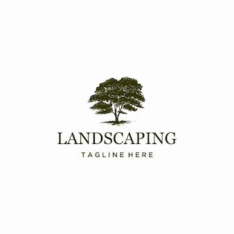 Plantilla de logotipo de paisajismo de árboles dibujados a mano