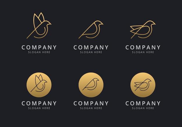 Plantilla de logotipo de pájaro con color dorado para la empresa