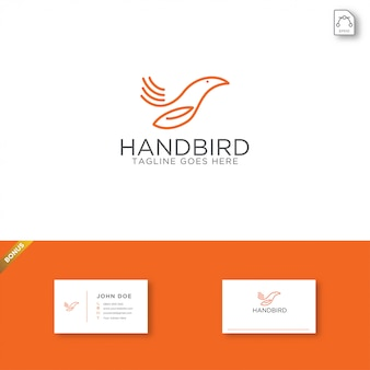 Plantilla de logotipo de pájaro de mano