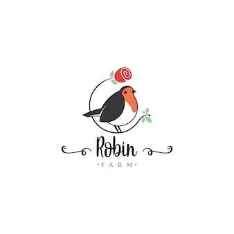 Plantilla de logotipo de pájaro robin. logo animal vector. plantilla de logotipo de pájaro mascota