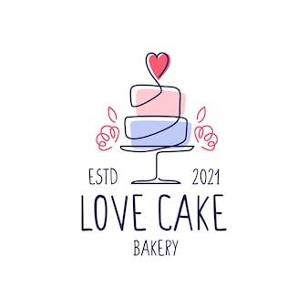 Plantilla de logotipo de panadería de boda de pastel de amor