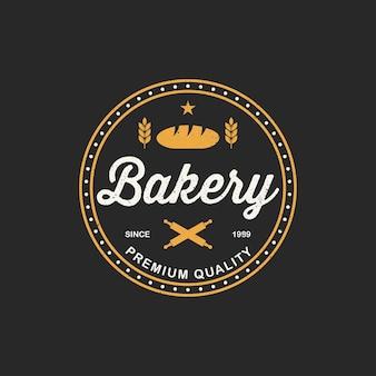 Plantilla de logotipo de panadería. emblema de la tienda de panadería, retro vintage