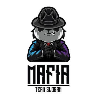 Plantilla de logotipo panda mafia esport