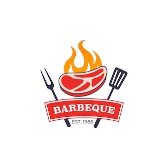 Plantilla de logotipo de parrilla de barbacoa