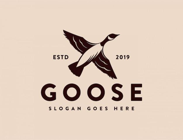 Plantilla de logotipo de pato de ganso de canadá