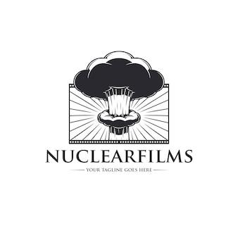 Plantilla de logotipo de películas de explosión nuclear