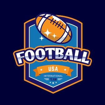 Plantilla de logotipo de pelota de rugby retro de fútbol americano