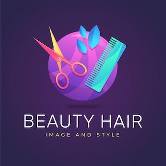 Plantilla de logotipo de peluquería de color degradado sobre fondo oscuro