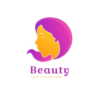 Plantilla de logotipo de peluquería degradado