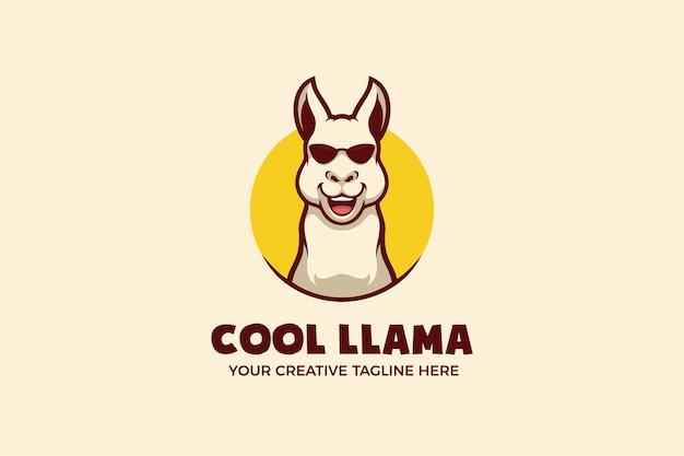 Plantilla de logotipo de personaje de mascota cool llama