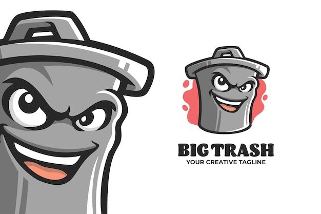Plantilla de logotipo de personaje de mascota de cubo de basura grande