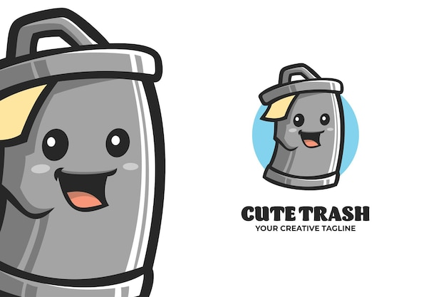 Plantilla de logotipo de personaje de mascota de cubo de basura lindo