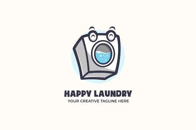 Plantilla de logotipo de personaje de mascota de lavandería lavadora