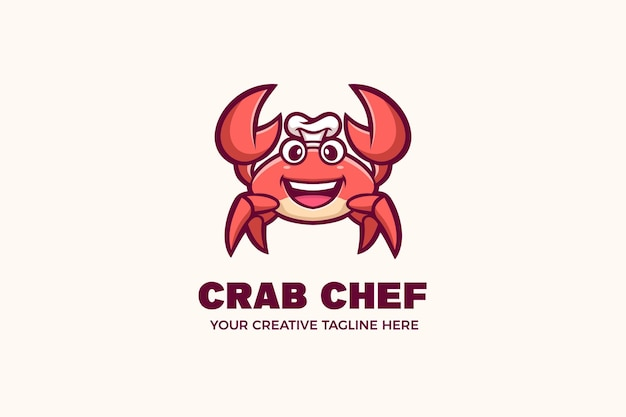 Plantilla de logotipo de personaje de mascota de mariscos de chef de cangrejo lindo