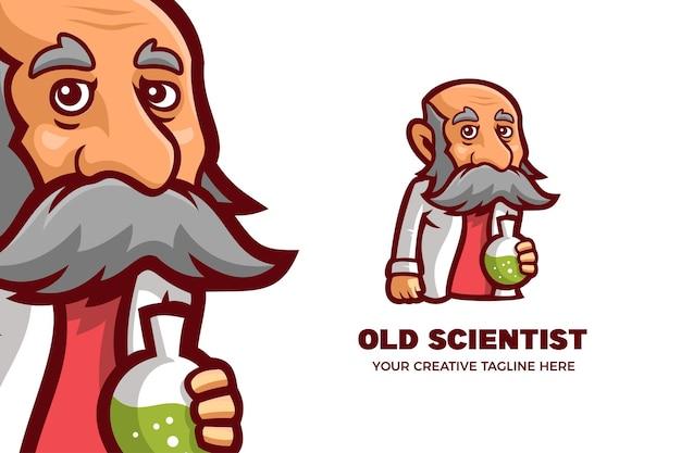 Plantilla de logotipo de personaje de mascota de viejo profesor científico