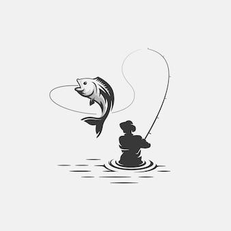 Plantilla de logotipo de pesca
