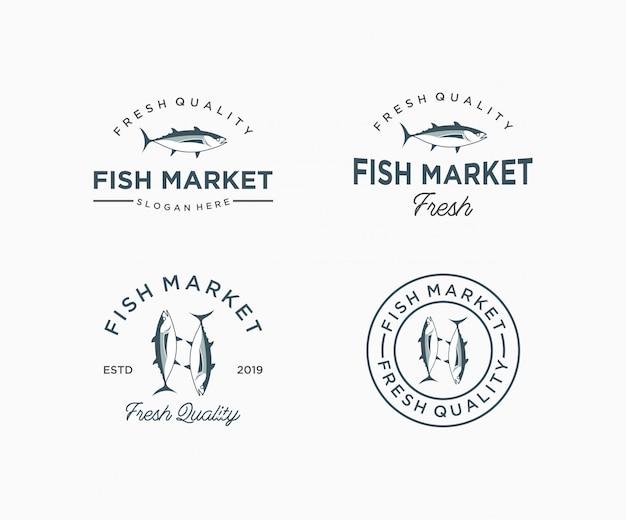Plantilla de logotipo de pescado para el mercado de pescado. ícono de restaurante de mariscos