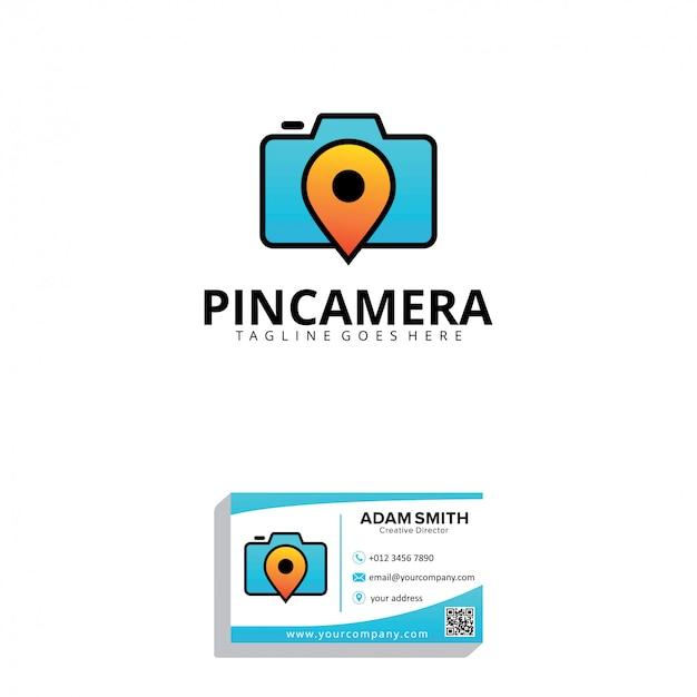 Plantilla de logotipo de pin camera