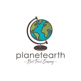 Plantilla de logotipo de planeta tierra mundial