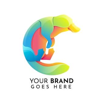 Plantilla de logotipo plano animal ornitorrinco