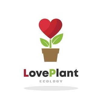 Plantilla de logotipo de planta de amor