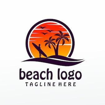 Plantilla de logotipo de playa