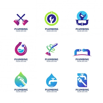 Plantilla de logotipo de plomería moderna para servicio de plomería y empresa