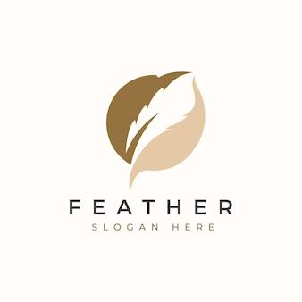 Plantilla de logotipo de pluma de círculo. illustation del vector