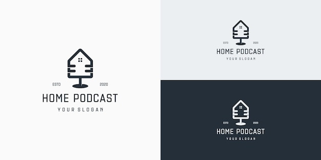 Plantilla de logotipo de podcast de bienes raíces. logotipo de comunicación en casa de podcast