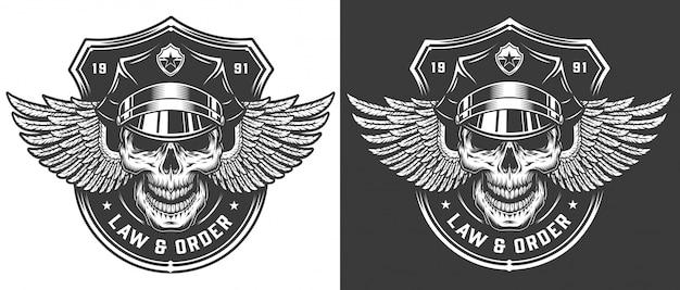 Plantilla de logotipo policial monocromo vintage