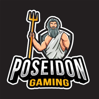Plantilla de logotipo de poseidon gaming