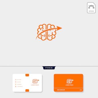 Plantilla de logotipo premium para cerebro, plantilla de tarjeta de visita incluida