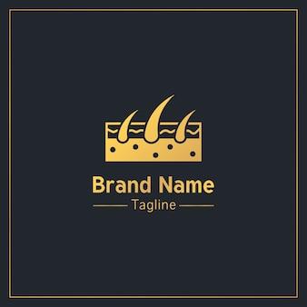 Plantilla de logotipo profesional dorado de folículos pilosos