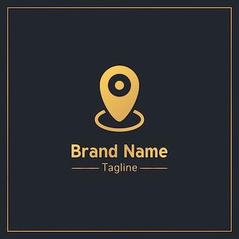 Plantilla de logotipo profesional dorado de pin de ubicación
