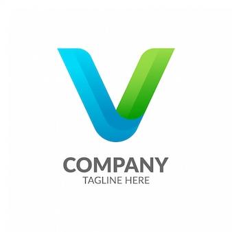 Plantilla de logotipo profesional letra v