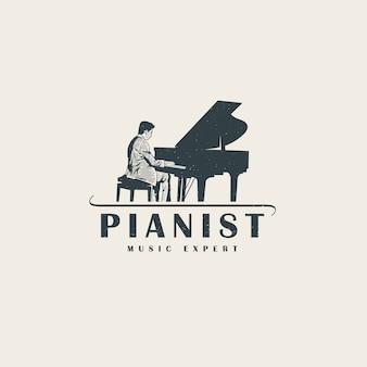 Plantilla de logotipo profesional de pianista