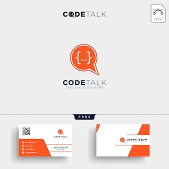 Plantilla de logotipo de programador de codificación de chat y tarjeta de visita