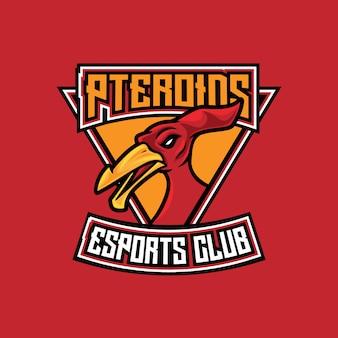 Plantilla de logotipo de pterodactyl esport