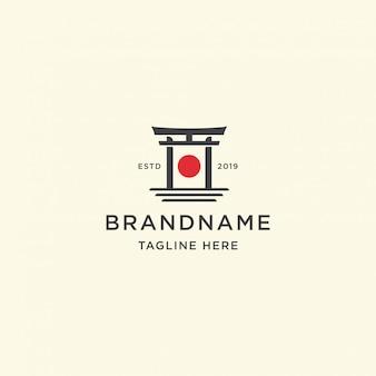 Plantilla de logotipo de puerta de japón