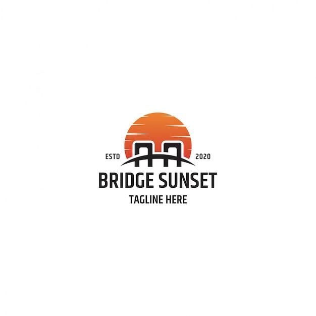 Plantilla de logotipo de puesta de sol de puente