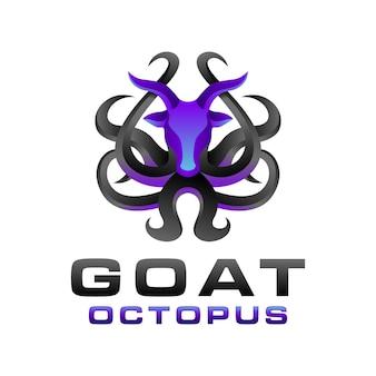Plantilla de logotipo de pulpo de cabra