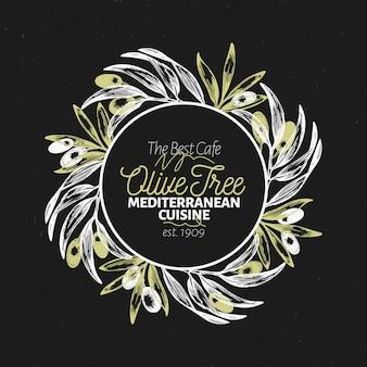 Plantilla de logotipo de rama de olivo.
