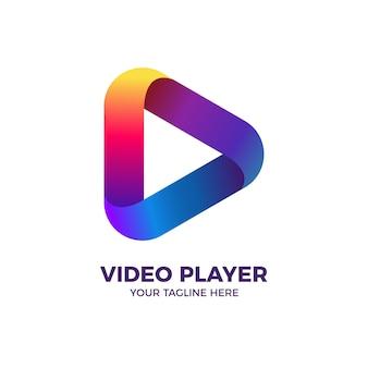 Plantilla de logotipo de reproductor de video multimedia de botón de reproducción colorido 3d
