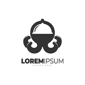 Plantilla de logotipo de restaurante de calamar